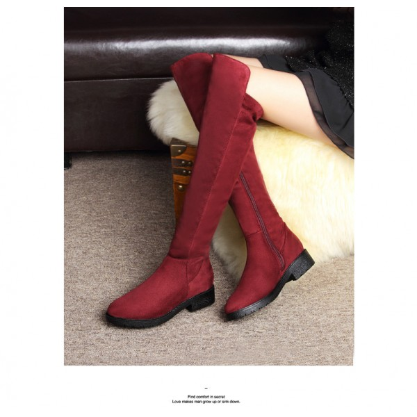 Burgundy Long Boots Suede Comfy Over-the-Knee Boots image 2