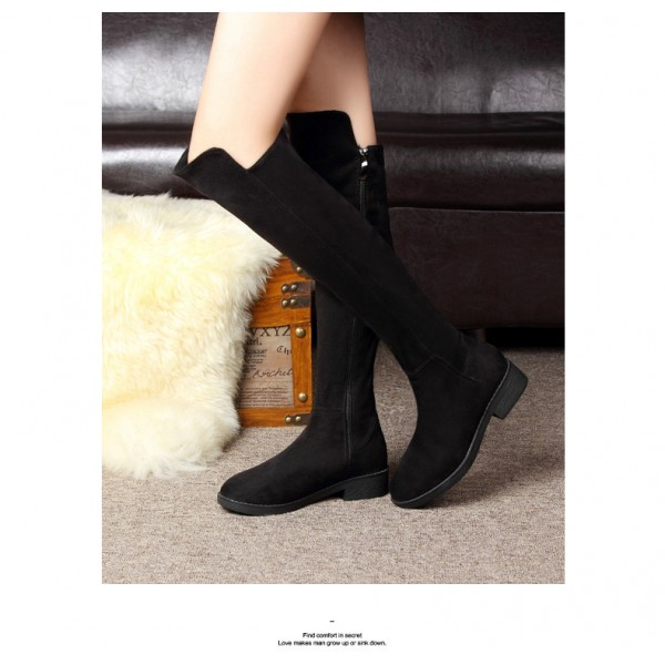 Leila Black Suede Over-The-Knee Boots image 2