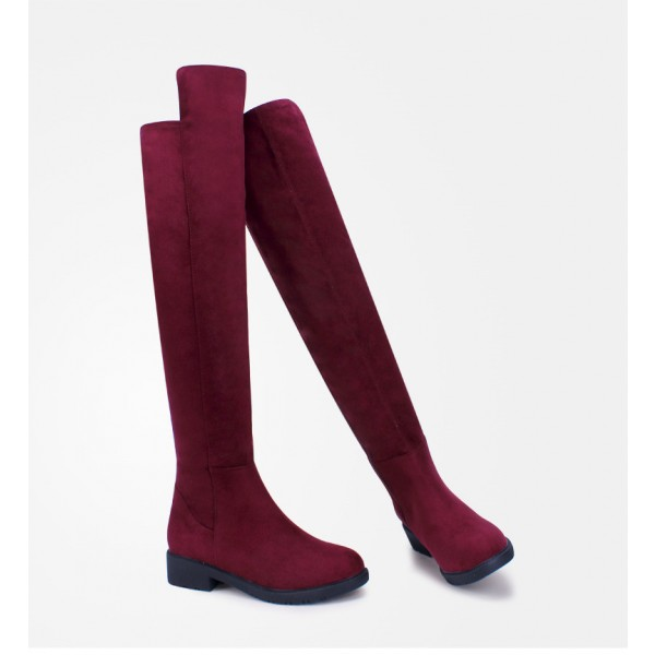 Burgundy Long Boots Suede Comfy Over-the-Knee Boots image 3