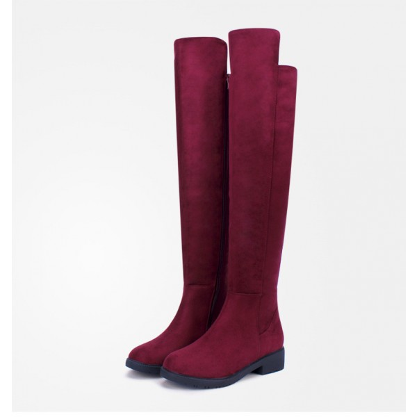 Burgundy Long Boots Suede Comfy Over-the-Knee Boots image 1