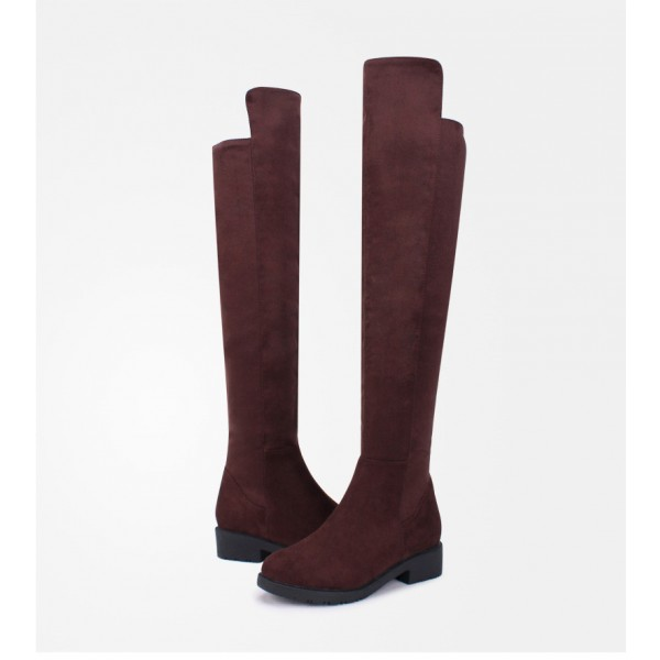 Women's Brown Suede Over-The-Knee Boots Comfortable Shoes image 3