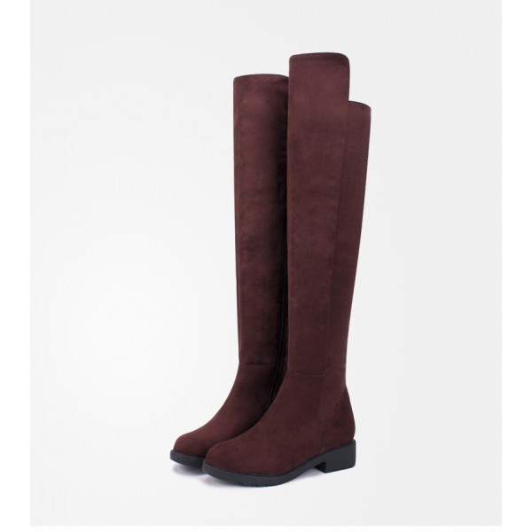 Women's Brown Suede Over-The-Knee Boots Comfortable Shoes image 1