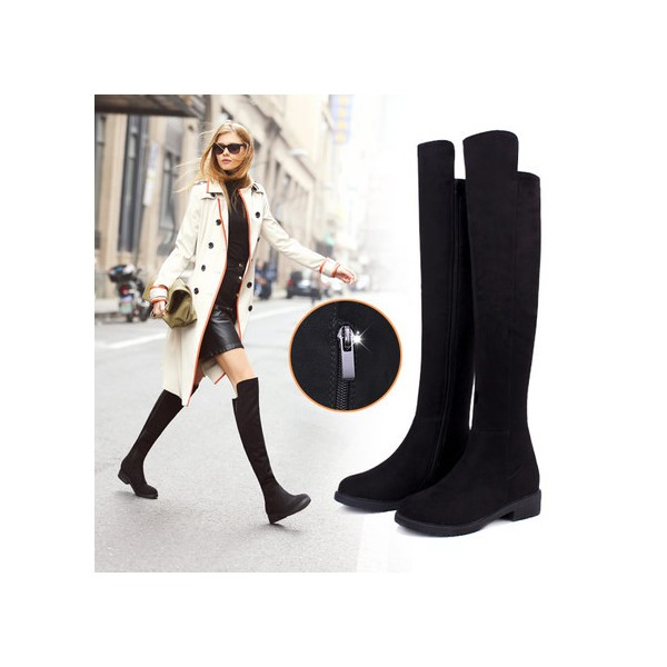 Leila Black Suede Over-The-Knee Boots image 1
