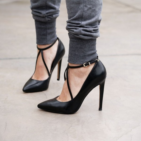 Women's Black Pointed Toe Ankle Straps Stiletto Heels Pumps Shoes image 1