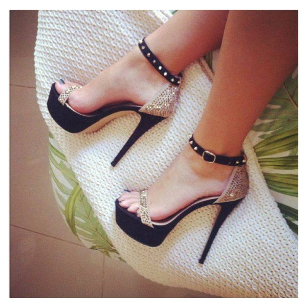 Women's Champagne Platform Sandals Stiletto Heels Ankle Strap Sandals image 1