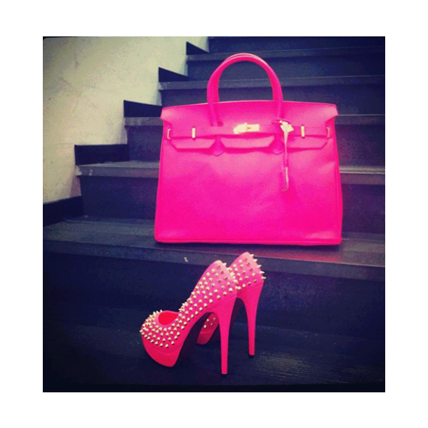 Hot Pink Platform Heels Studded Pumps High Heel Shoes image 1