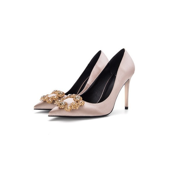 Champagne Bridal Heels Satin Rhinestone Buckle Pumps for Wedding image 1