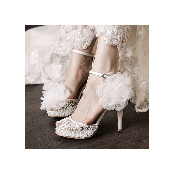 Lillian White Vintage Lace Ankle Strap Stiletto Heel  Wedding Shoes image 1
