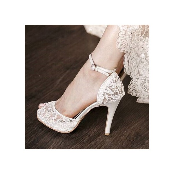 926b56f7bbd White Bridal Shoes Lace Heels Peep Toe Ankle Strap Platform Pumps image 1  ...