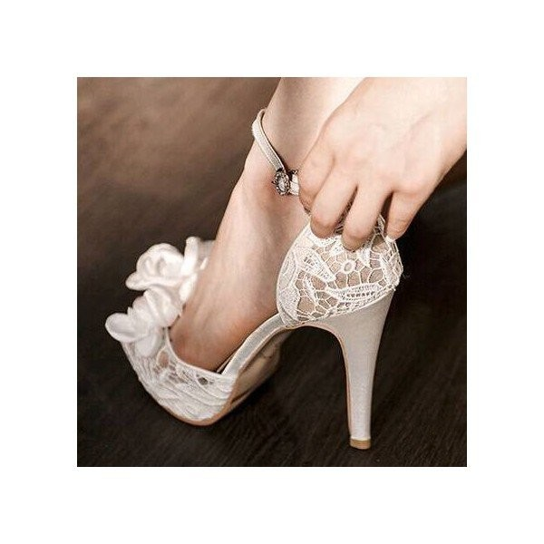 White Bridal Sandals Ankle Strap Platform Lace Heels with Flower image 2