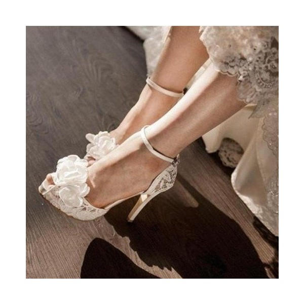 White Bridal Sandals Ankle Strap Platform Lace Heels with Flower image 1