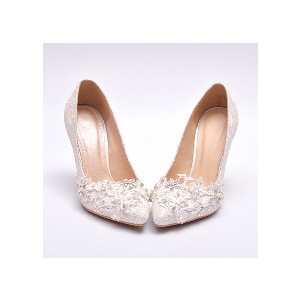 Women's White Lace Bridal Heels Rhinestone Stiletto Heel Pumps image 1