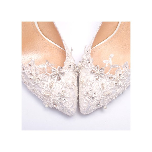 Women's White Lace Bridal Heels Rhinestone Stiletto Heel Pumps image 3