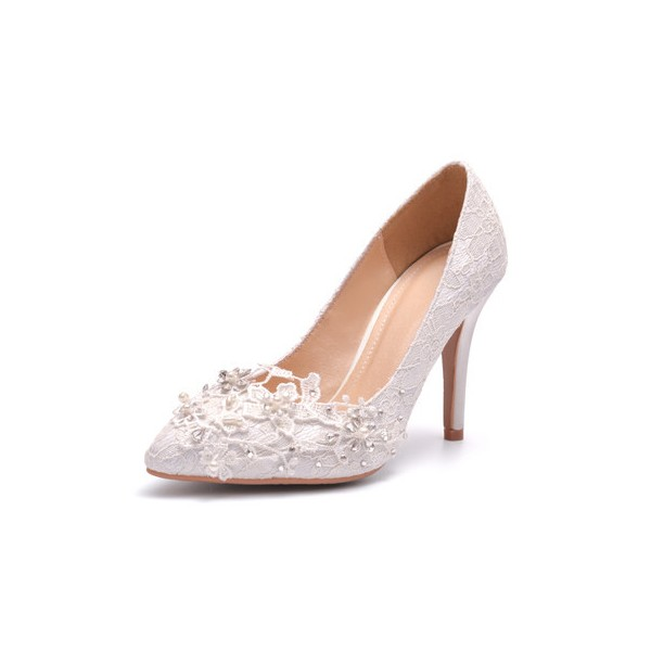 White Lace Bridal Heels Rhinestone Stiletto Heel Pumps for Wedding image 2