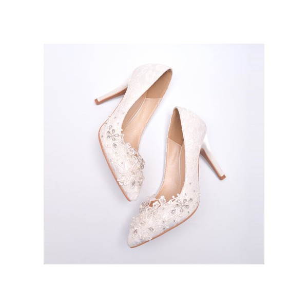 White Lace Bridal Heels Rhinestone Stiletto Heel Pumps for Wedding image 4