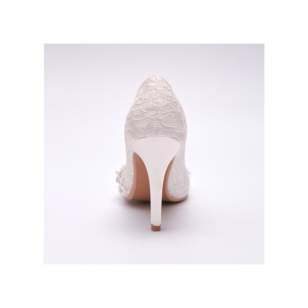 White Lace Bridal Heels Rhinestone Stiletto Heel Pumps for Wedding image 5