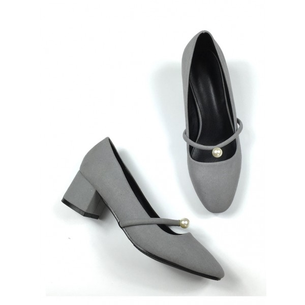 Grey Suede Chunky Heels Mary Jane Shoes with Pearls image 1