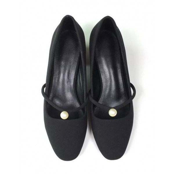 Leila Black Suede Pearl Decorated Low-Heel Mary Jane Vintage Heels image 6