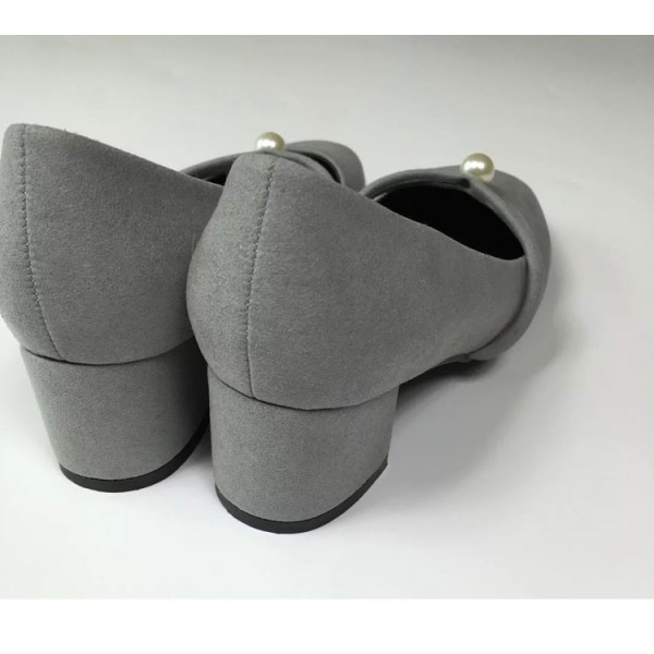 Grey Chunky Heels Round Toe Suede Block Heel Pumps with Pearls image 2