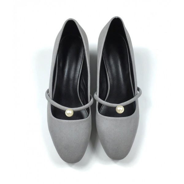 Grey Suede Chunky Heels Mary Jane Shoes with Pearls image 3