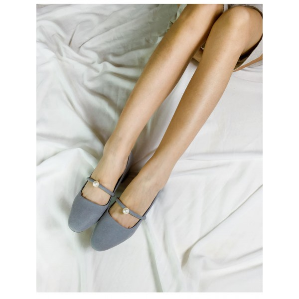 Grey Suede Chunky Heels Mary Jane Shoes with Pearls image 5