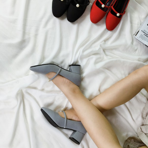 Grey Chunky Heels Round Toe Suede Block Heel Pumps with Pearls image 3