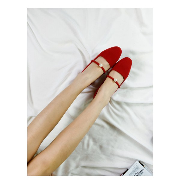 Women's Coral Red Suede Pearl Decorated Low-Heel Mary Jane Shoes Vintage Heels image 3