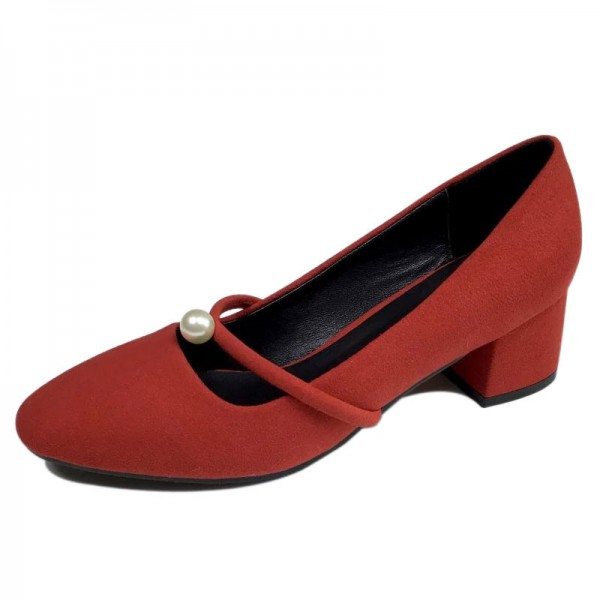 Women's Coral Red Suede Pearl Decorated Low-Heel Mary Jane Shoes Vintage Heels image 1