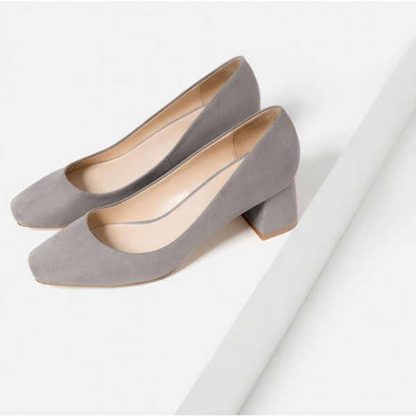 Grey Suede Square Toe Block Heels Commuting Office Shoes image 2