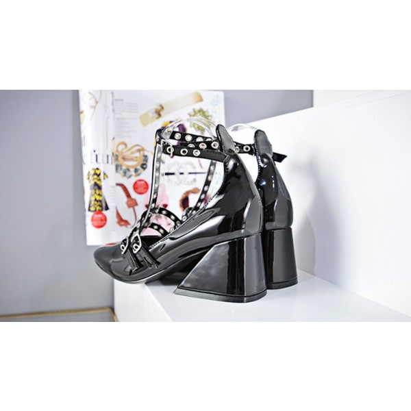 Black T Strap Shoes Square Toe Patent Leather Vintage Pumps image 2