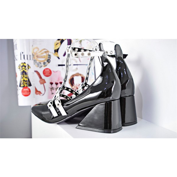 Leila Black and White T-strap Wedge Studded Vintage Heels for School image 4