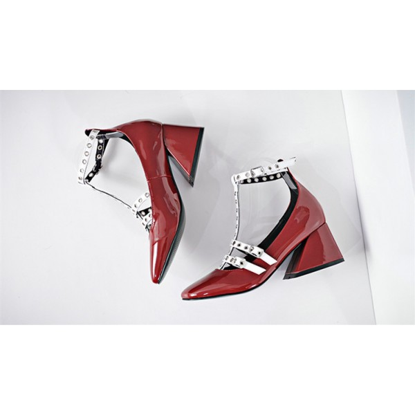 Red and White T Strap Pumps Square Toe Chunky Heels  image 3