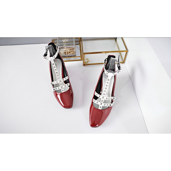 Red and White T Strap Pumps Square Toe Chunky Heels  image 2
