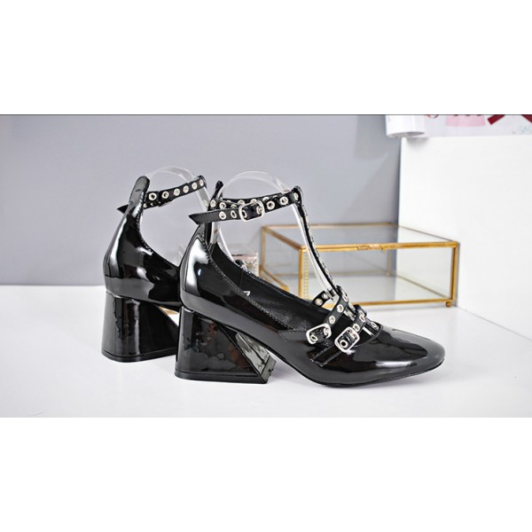 Black T Strap Shoes Square Toe Patent Leather Vintage Pumps image 3