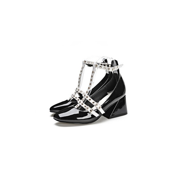Leila Black and White T-strap Wedge Studded Vintage Heels for School image 1