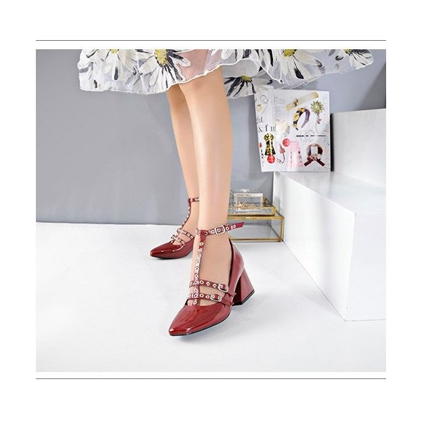 Red T Strap Shoes Square Toe Patent Leather Vintage Pumps image 1