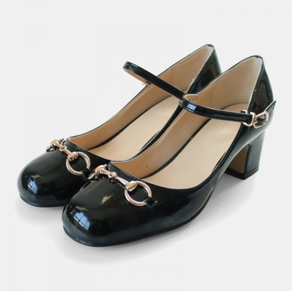 Women's Leila Black Mary Jane Patent Leather Chunky Vintage Heels Pumps image 1