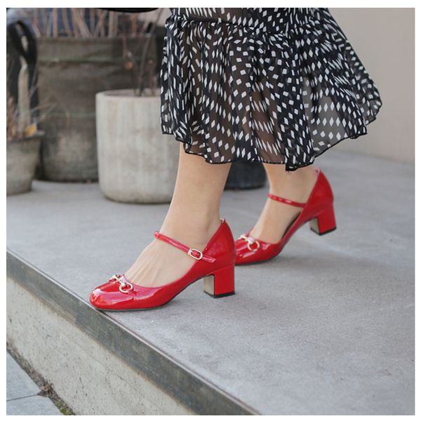 Women's Coral Red Mary Jane Pumps Chunky Heels Vintage Shoes FSJ Shoes image 2