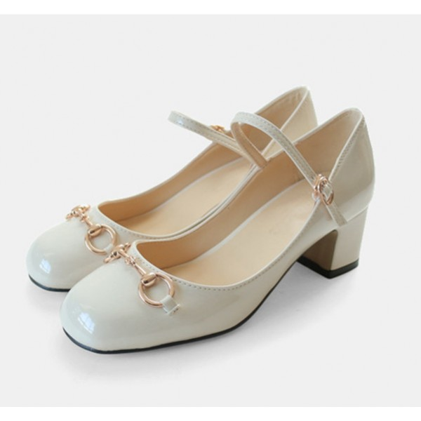 Ivory Mary Jane Pumps Chunky Heels Metal Chain Vintage Shoes image 1