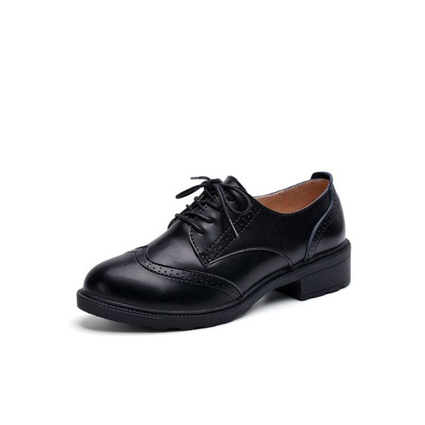 Leila Black Leather Round Toe Vintage Lace-up Flat Women's Oxfords image 1