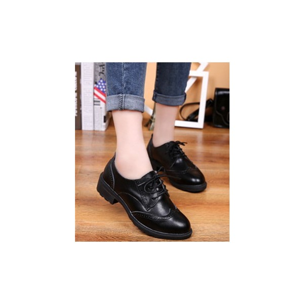 Women's Leila Black Flats Boots-Ankle  Lace-up Oxfords Vintage Shoes image 6