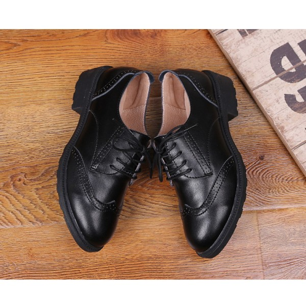 Leila Black Leather Round Toe Vintage Lace-up Flat Women's Oxfords image 2