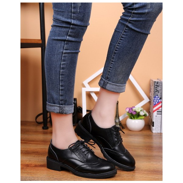 Leila Black Leather Round Toe Vintage Lace-up Flat Women's Oxfords image 5