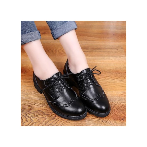 Leila Black Leather Round Toe Vintage Lace-up Flat Women's Oxfords image 4