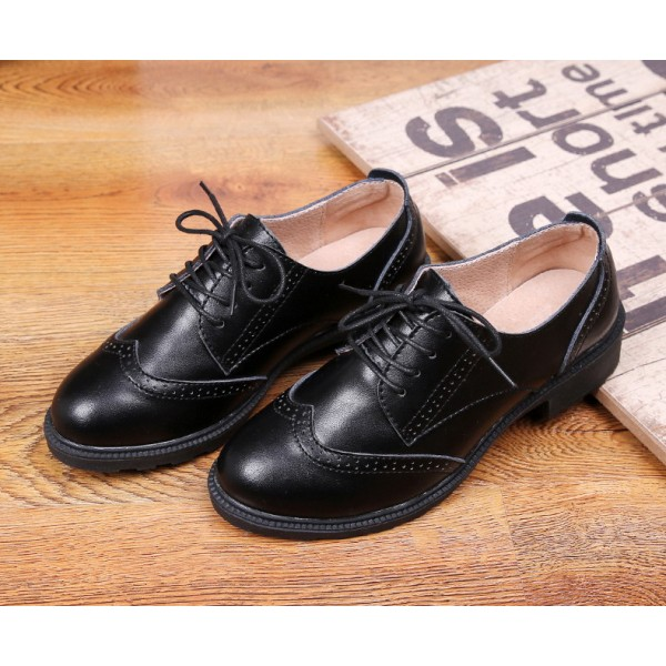 Leila Black Leather Round Toe Vintage Lace-up Flat Women's Oxfords image 3