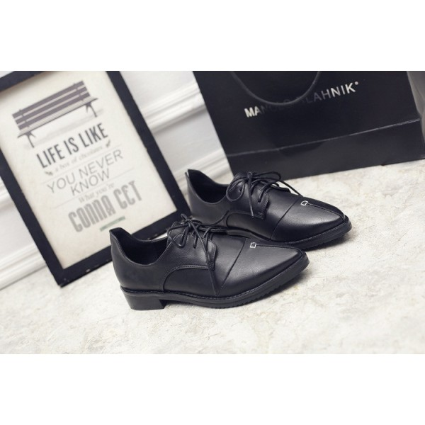 Leila Black Patent Leather Pointed Toe School Shoes Vintage Lace-up Flats image 7
