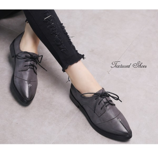 Navy Leather Pointed Toe Vintage Lace-up Flat Women's Oxfords image 3