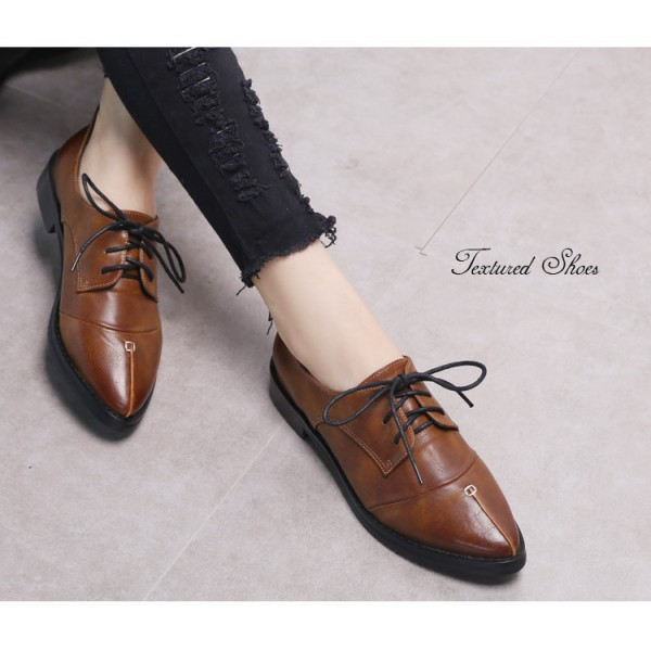 Doris Brown Leather Pointed Toe Vintage Lace-up Flat Women's Oxfords image 2