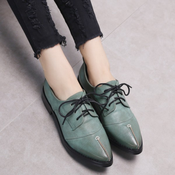 Esther Blue Leather Pointed Toe Vintage Lace-up Flat Women's Oxfords image 3