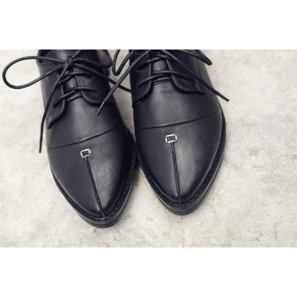 Leila Black Patent Leather Pointed Toe School Shoes Vintage Lace-up Flats image 6